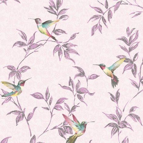 Sparkle Birds Pink Glitter Wallpaper