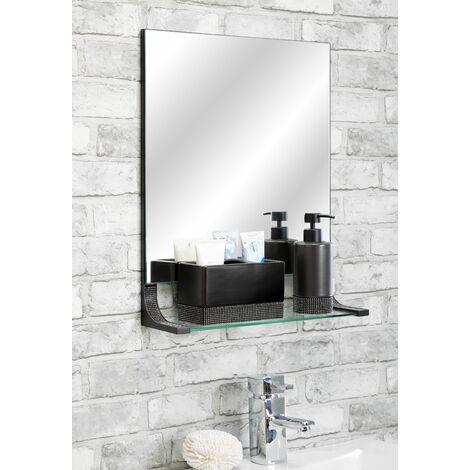 Sparkle Matt Black Bathroom Mirror With Shelf