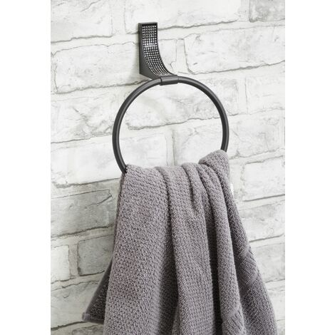"main image of ""Sparkle Matt Black Towel Ring Holder - Black"""