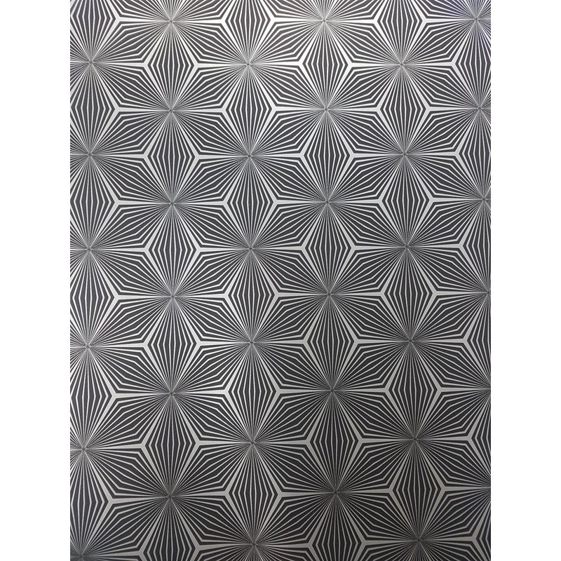 HOLDEN DECOR 12616 METALLIC NEW GEOMETRIC STAR WALLPAPER SILVER BLACK