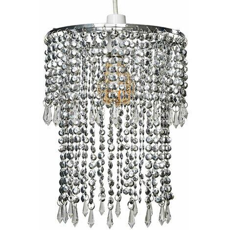 Sparkling Chrome Acrylic Crystal Jewel Bead Ceiling Pendant Light Shade - Silver