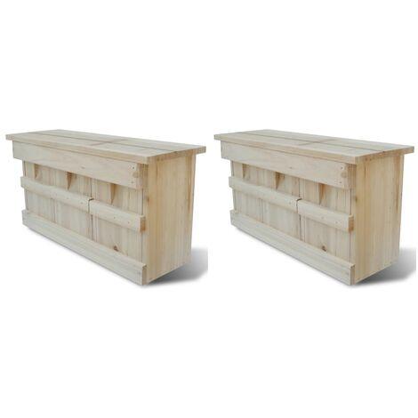 Spatzenhaus 2 Stk. Holz 44 x 15,5 x 21,5 cm