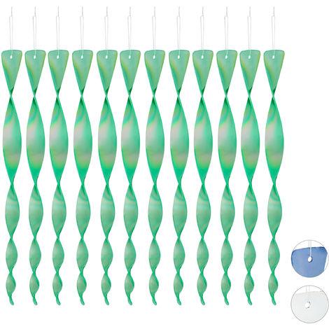 Spaventapasseri a Spirale in Set da 12, Riflettente, Balcone & Giardino, 40 cm, Allontana Piccioni, Verde