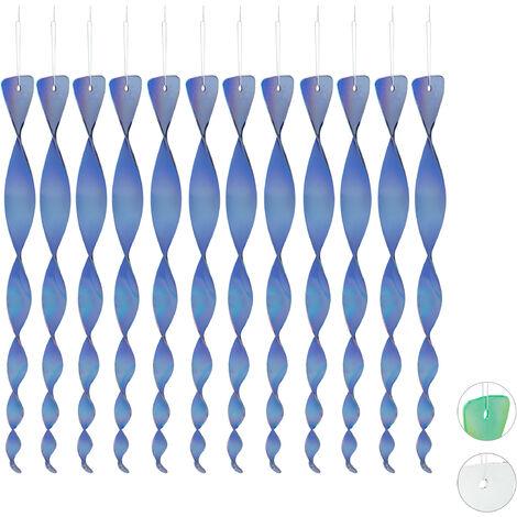 Spaventapasseri a Spirale in Set da 12, Riflettente, Balcone & Giardino, 40 cm, Deco, Allontana Piccioni, Blu