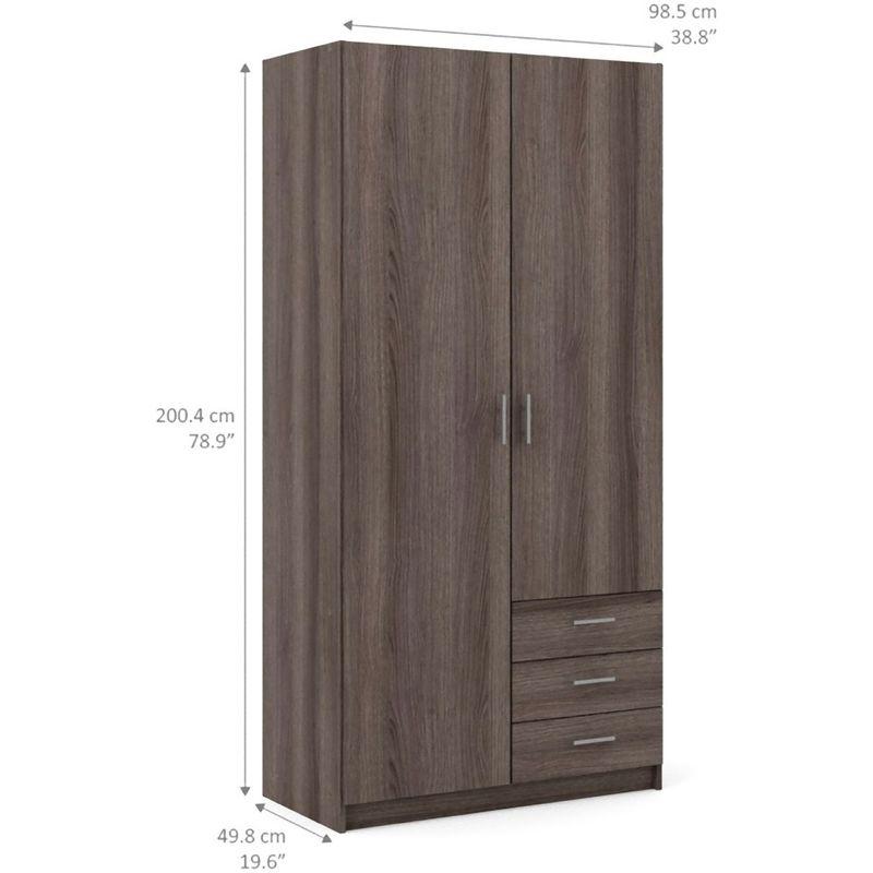 Spawn Kleiderschrank 2 Türen, 3 Schubladen anthrazit eiche Dekor 07-68080ffff - PKLINE