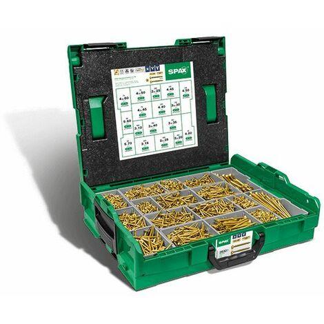 Spax Malette plastique de montage L-BOXX, Kit de vis avec 17 dimensions, Tête fraisée, Cruciforme Z, 4CUT, YELLOX - 5000009164019
