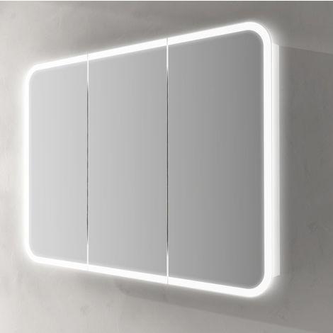 Specchiera 95x70x15 con Led Specchio Contenitore bianco con ante