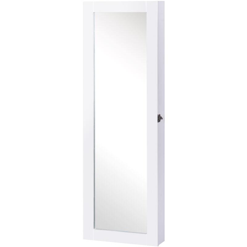 Porta Orecchini Da Parete specchiera armadio portagioielli da parete in legno mdf bianco 37x9.5x112  cm benzoni