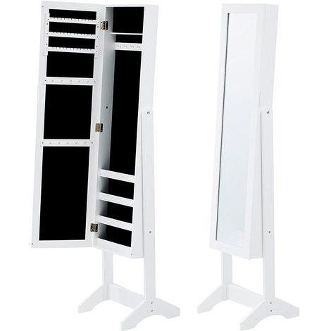 60 x 30 x 8,5 cm BAKAJI Specchiera Portagioie da Parete Muro Armadietto Portagioielli con Anta Porta Oggetti e Specchio Interno Armadio Organizer Porta Gioielli Colore Bianco