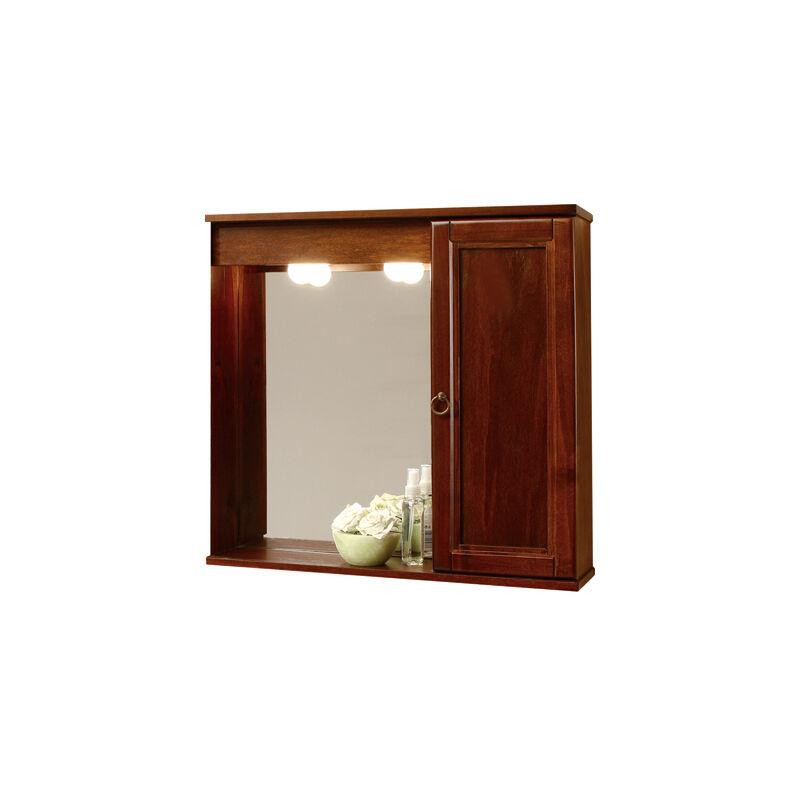 Specchiera Specchio Bagno Arredo Noce Da 69 Cm 1 Anta