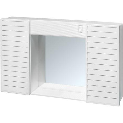 Specchio Armadio 2 Ante Economico.Specchiera Specchio Per Bagno 2 Ante In Pvc Luce E Interruttore