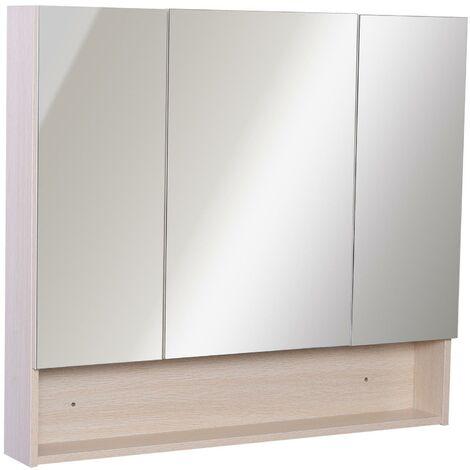 Bricote Specchio Bagno da Parete con Luce LED 80x60 Laccato Bianco con Mensole Contenitore armadietto Due Ante Legno Moderno Luce a 198 LED