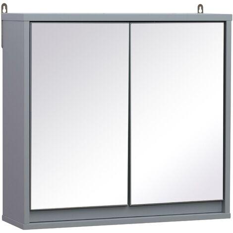 Specchio Armadietto Da Bagno Pensile Doppia Porta Con Ripiano Regolabile Grigio 48x14.5x45 Cm Benzoni