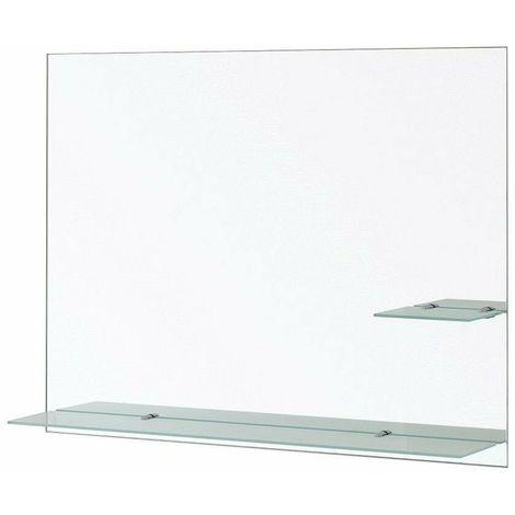 Mensole Per Bagno Vetro.Specchio Bagno Con Mensole Vetro Satinate Rettangolare 80x60 Feridras 178024 B