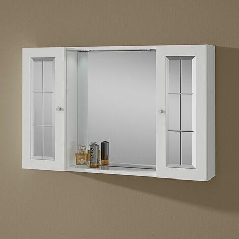 Specchio bagno contenitore con due pensili e luce modello for Specchio da tavolo con luce ikea