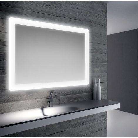 Specchio Bagno Con Lampada.Specchio Bagno Retroilluminato A Led Su Tutto Il Perimetro 100x70 Cm