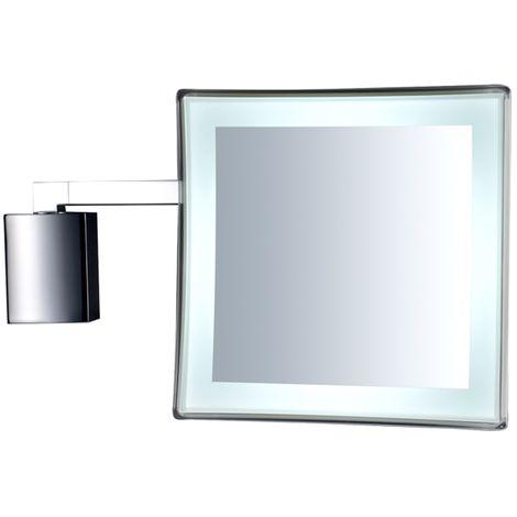 Specchio da parete ingranditore con luce led ottone/cromal/tritan ...