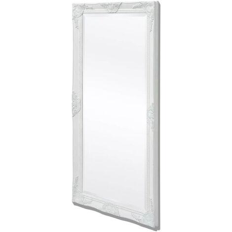 Specchio da Parete a Figura Intera 132 x 42 x 3,5 cm Forma Rettangolare con Fissaggio Verticale//Orizzontale Cornice in Eucalipto Stile Barocco Grigio Scuro en.casa