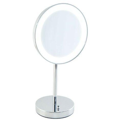 Specchio Da Bagno Con Luci Led.Specchio Ingranditore Da Bagno Con Luce Led Batteria Da Appoggio