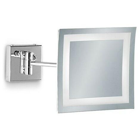 Specchio Ingranditore Da Bagno.Specchio Ingranditore Da Bagno Quadrato A Parete Con Luce Led E Cornice Sabbiata