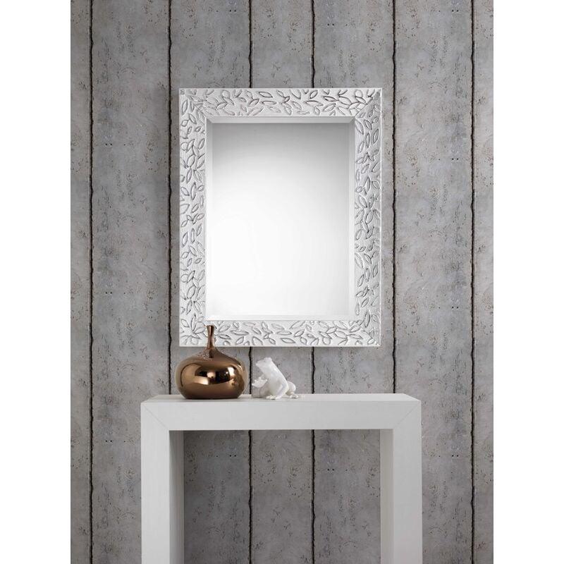 Specchio LEAF con cornice in legno color BIANCO ARGENTO