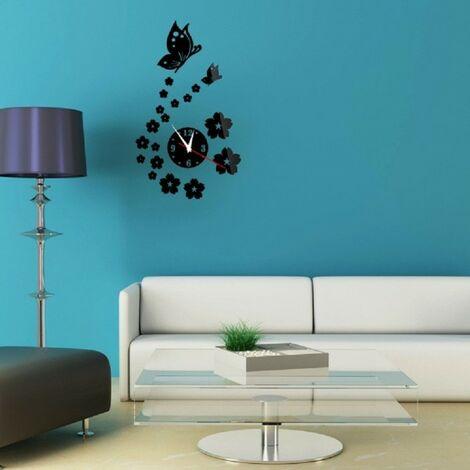 Decorazioni Per Pareti Adesive.Specchio Parete Adesivi 3d Orologio Motivo Farfalla Fiore Soggiorno Decorazione