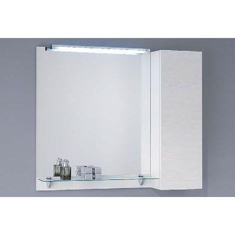 Mensole In Vetro Bianco.Specchio Piu Pensile 80xp15xh74 Con Anta Ad Apertura Push System Con Mensola In Vetro