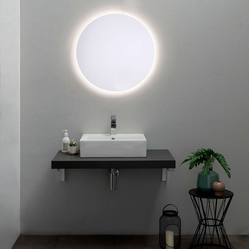 Specchio Tondo Bagno.Specchio Rotondo Da Bagno Con Diametro Cm 70 Retroilluminato A Led Moderno