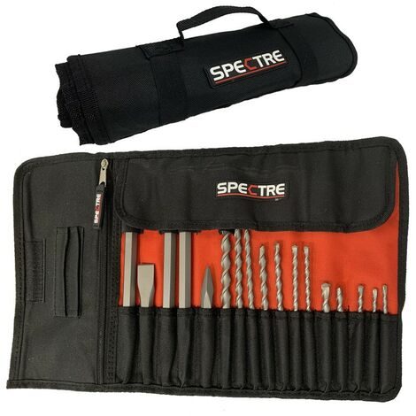 Spectre 17 Piece SDS Plus Drill Bit Set + Bullet Cold Flat Chisel Set +Tool Roll