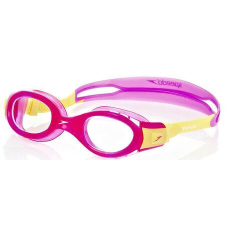 "main image of ""Speedo Futura Biofuse Goggles - Anti Fog Swimming Goggles 6-14 Years Pink/Yellow"""