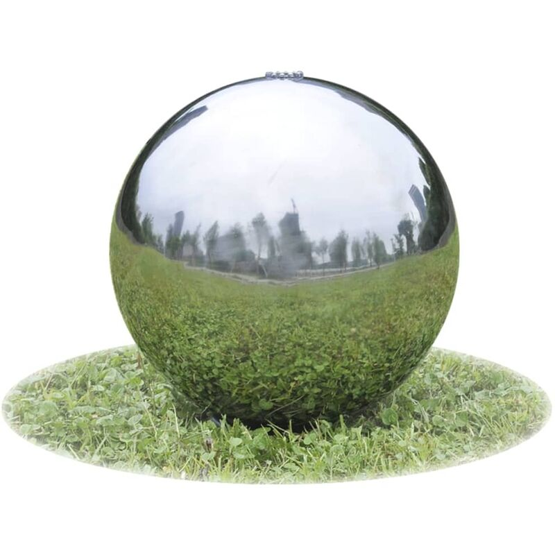 Zqyrlar - Sphère de fontaine de jardin avec LED Acier inoxydable 20 cm