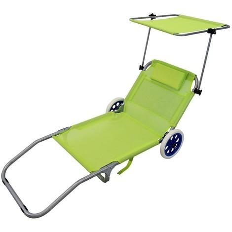 Carrello Pieghevole Da Campeggio.Spiaggina Carrello Sdraio Mare Pieghevole Verde Lime Con Tetto Per Campeggio Spiaggia Piscina Giardino