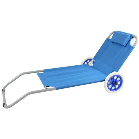 Carrello Sdraio Da Spiaggia.Spiaggina Carrello Sdraio Mare Steel Oxford Blu Per Campeggio Spiaggia Piscina Giardino