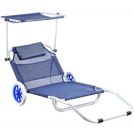 Spiaggina Sdraio Con Ruote.Spiaggina Trolley Pieghevole Con Ruote Alluminio Blu Papillon
