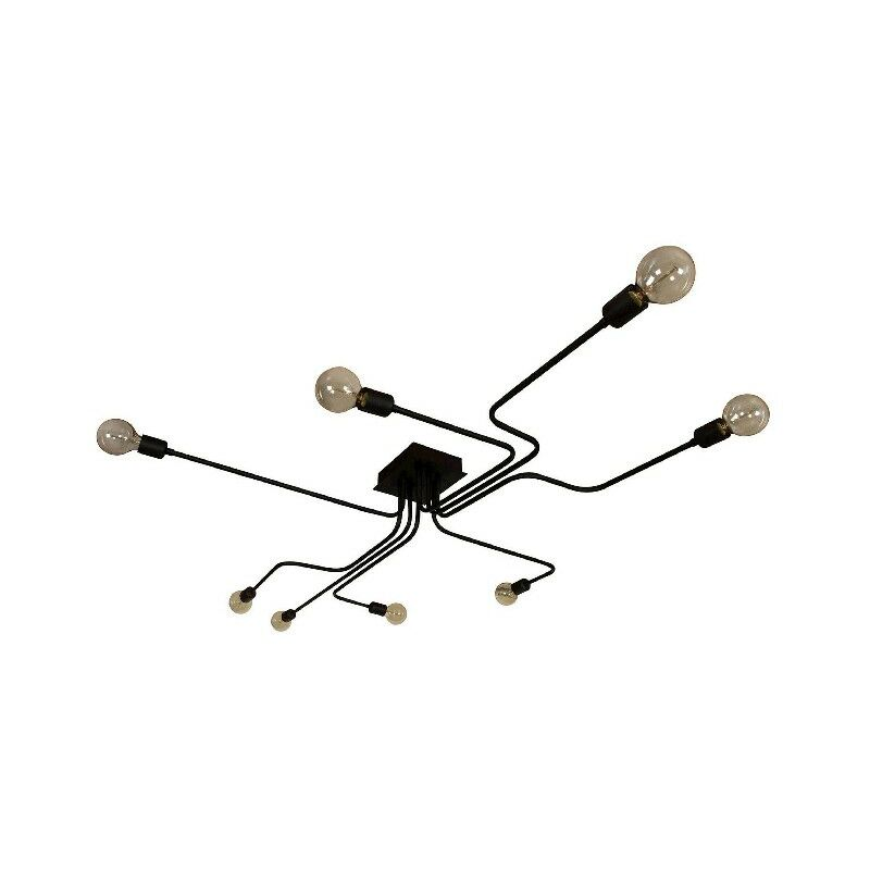 Spider Deckenlampe - Deckenleuchte - von der Wand - Schwarz aus Metall, elektrostatische Farbe, 180 x 120 x 15 cm, 8 x E27, Max 60W