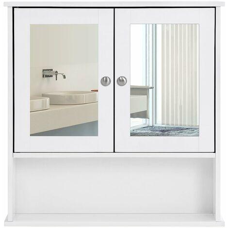 Spiegelschrank Badschrank Hängeschrank Spiegel mit Ablage Schminkschrank aus Holz 56 x 58 x 13cm (B x H x T) weiß LHC002