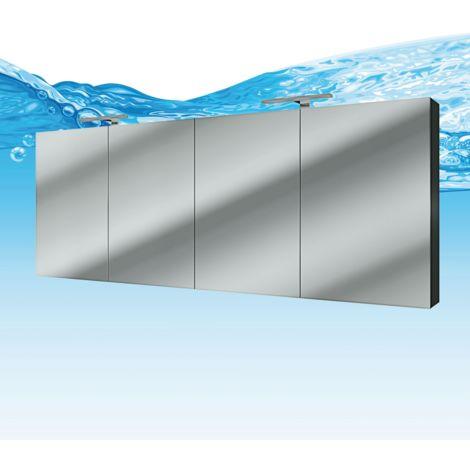 Spiegelschrank Badspiegel Badezimmer Spiegel City 160cm Esche schwarz