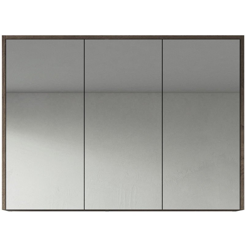 Spiegelschrank Cuba 100cm Braun Eiche - Schrank Spiegelschrank Spiegel Badezimmer Badmöbel Set Hängeschrank Badschrank - BADPLAATS