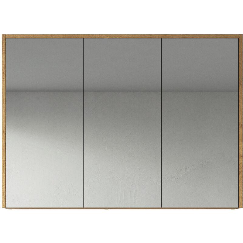 Spiegelschrank Cuba 100cm Eiche - Schrank Spiegelschrank Spiegel Badezimmer Badmöbel Set Hängeschrank Badschrank - BADPLAATS