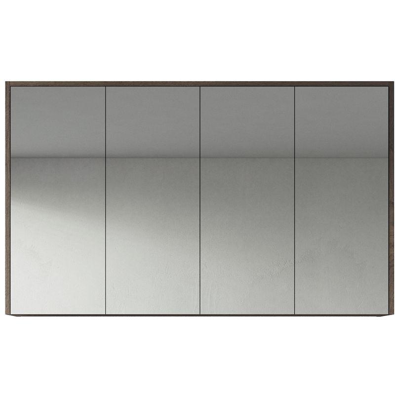 Spiegelschrank Cuba 120cm Braun Eiche - Schrank Spiegelschrank Spiegel Badezimmer Badmöbel Set Hängeschrank Badschrank - BADPLAATS