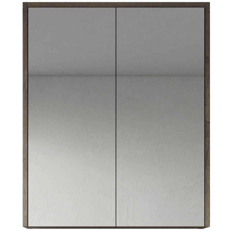 Spiegelschrank Cuba 60cm Braun Eiche - Schrank Spiegelschrank Spiegel Badezimmer Badmöbel Set Hängeschrank Badschrank - BADPLAATS