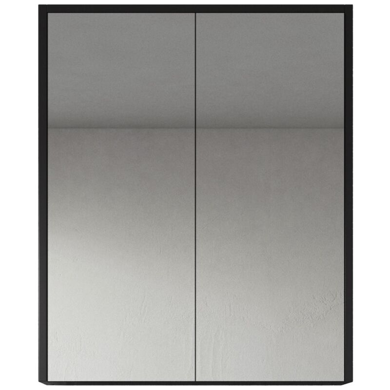 Spiegelschrank Cuba 60cm Schwarzes Holz - Schrank Spiegelschrank Spiegel Badezimmer Badmöbel Set Hängeschrank Badschrank - BADPLAATS