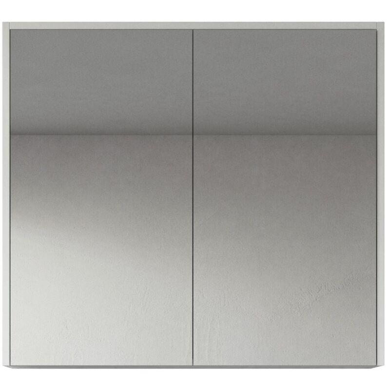 Spiegelschrank Cuba 80cm Hochglanz weiß - Schrank Spiegelschrank Spiegel Badezimmer Badmöbel Set Hängeschrank Badschrank - BADPLAATS
