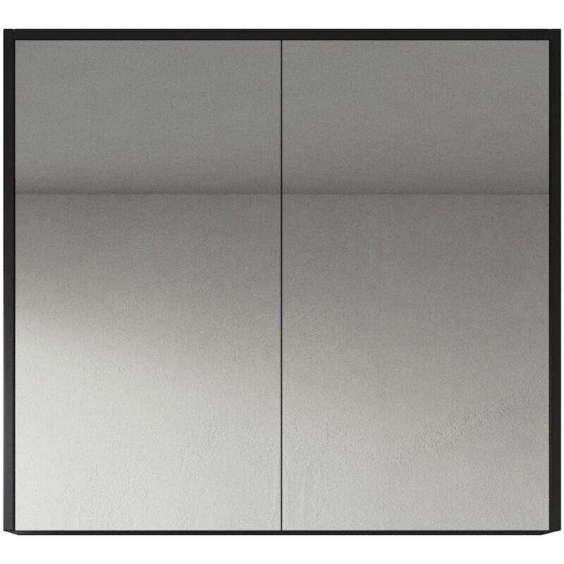 Spiegelschrank Cuba 80cm Schwarzes Holz - Schrank Spiegelschrank Spiegel Badezimmer Badmöbel Set Hängeschrank Badschrank - BADPLAATS