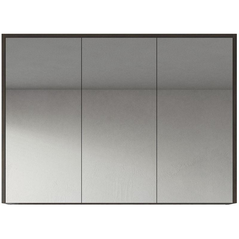 Spiegelschrank Cuba 100cm Eiche dunkel - Schrank Spiegelschrank Spiegel Badezimmer Badmöbel Set Hängeschrank Badschrank - BADPLAATS