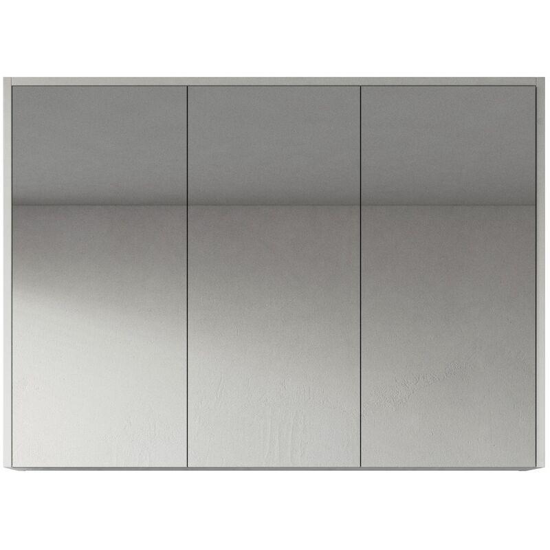 Spiegelschrank Cuba 100cm Hochglanz weiß - Schrank Spiegelschrank Spiegel Badezimmer Badmöbel Set Hängeschrank Badschrank - BADPLAATS