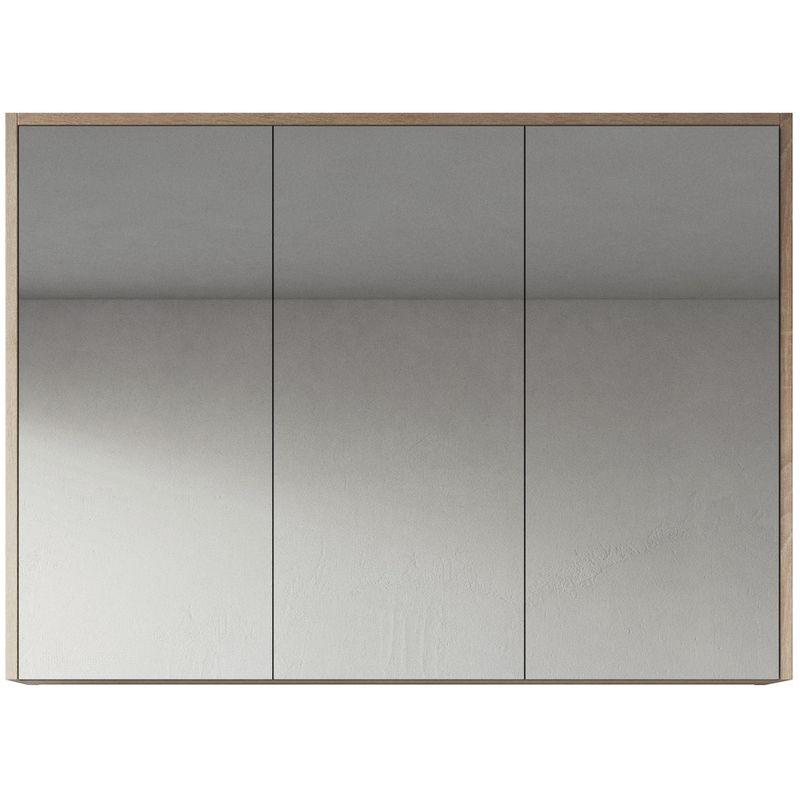 Spiegelschrank Cuba 100cm Eiche hell - Schrank Spiegelschrank Spiegel Badezimmer Badmöbel Set Hängeschrank Badschrank - BADPLAATS