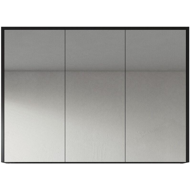 Spiegelschrank Cuba 100cm Schwarzes Holz - Schrank Spiegelschrank Spiegel Badezimmer Badmöbel Set Hängeschrank Badschrank - BADPLAATS