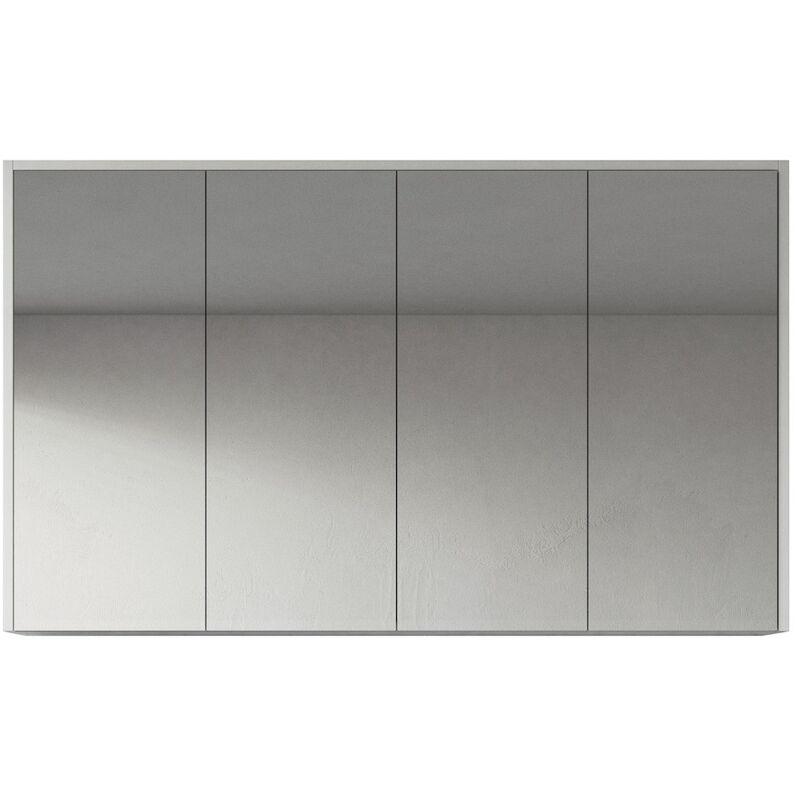 Spiegelschrank Cuba 120cm Hochglanz weiß - Schrank Spiegelschrank Spiegel Badezimmer Badmöbel Set Hängeschrank Badschrank - BADPLAATS