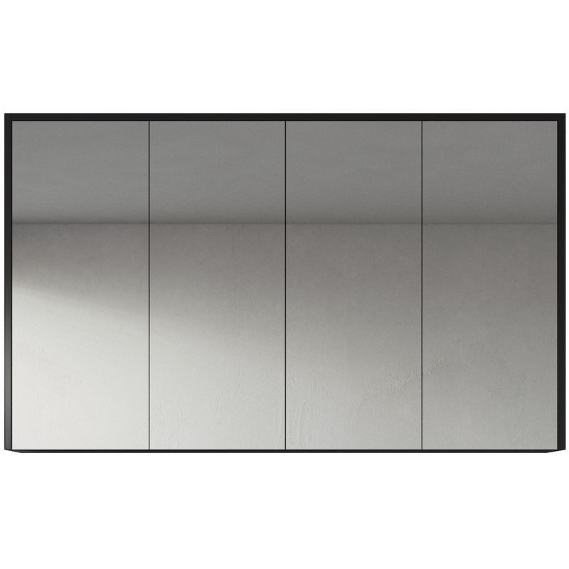 Spiegelschrank Cuba 120cm Schwarzes Holz - Schrank Spiegelschrank Spiegel Badezimmer Badmöbel Set Hängeschrank Badschrank - BADPLAATS